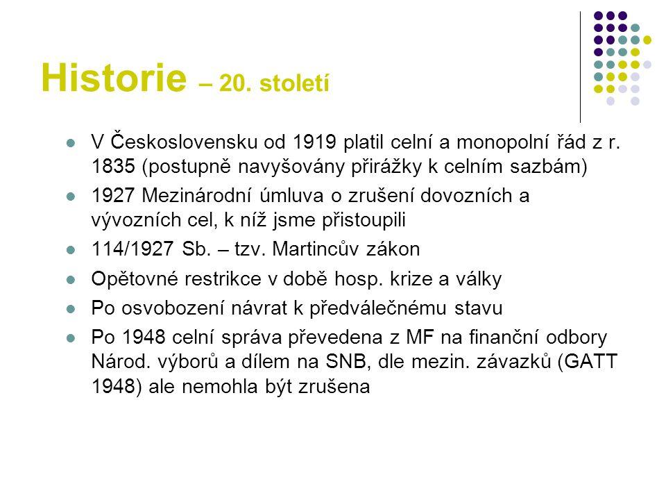 Historie – 20.století V Československu od 1919 platil celní a monopolní řád z r.