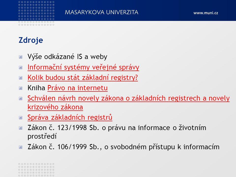 Zdroje Výše odkázané IS a weby Informační systémy veřejné správy Kolik budou stát základní registry? Kniha Právo na internetuPrávo na internetu Schvál