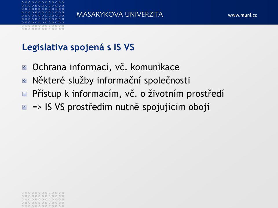 Legislativa spojená s IS VS Ochrana informací, vč.