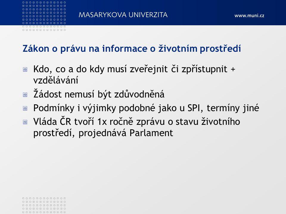 Zákon o právu na informace o životním prostředí Kdo, co a do kdy musí zveřejnit či zpřístupnit + vzdělávání Žádost nemusí být zdůvodněná Podmínky i vý