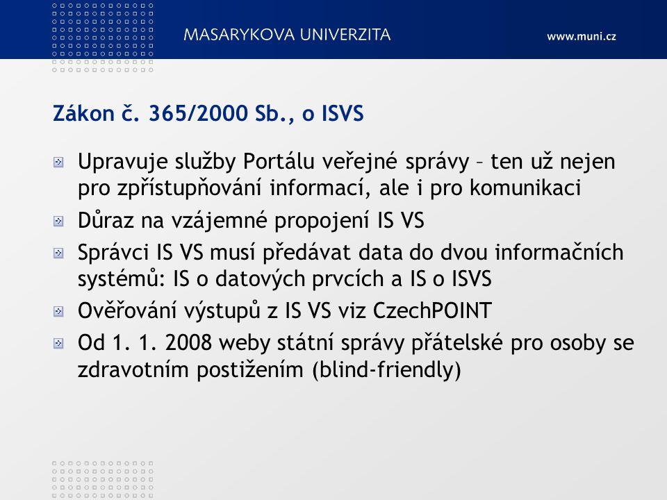 Zákon č. 365/2000 Sb., o ISVS Upravuje služby Portálu veřejné správy – ten už nejen pro zpřístupňování informací, ale i pro komunikaci Důraz na vzájem