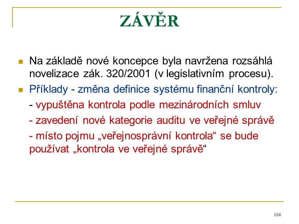 106 ZÁVĚR Na základě nové koncepce byla navržena rozsáhlá novelizace zák. 320/2001 (v legislativním procesu). Příklady - změna definice systému finanč
