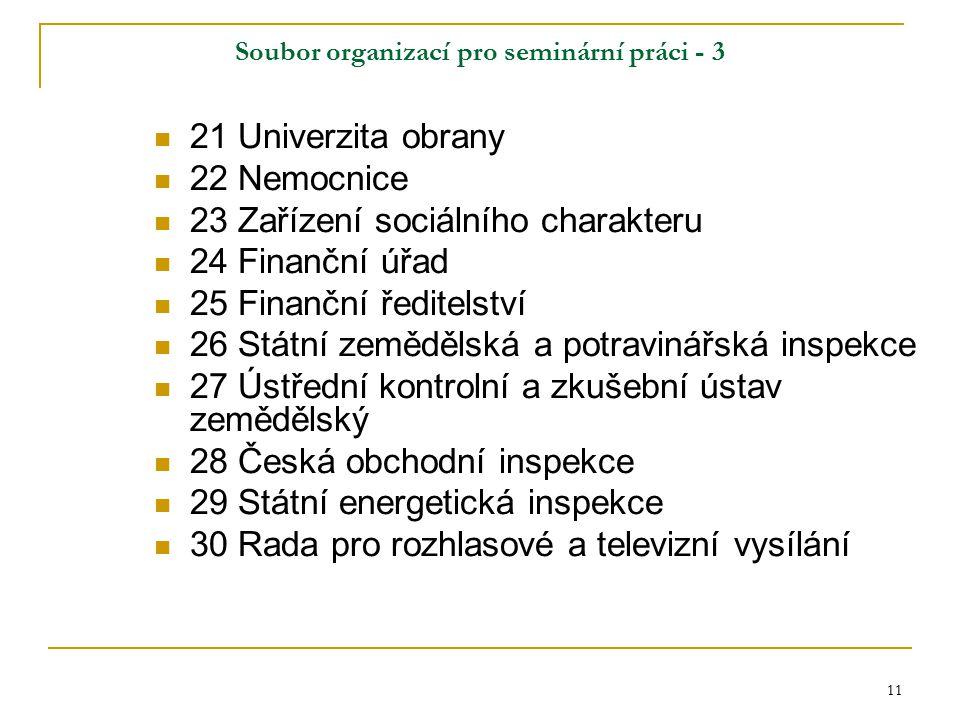 11 Soubor organizací pro seminární práci - 3 21 Univerzita obrany 22 Nemocnice 23 Zařízení sociálního charakteru 24 Finanční úřad 25 Finanční ředitels
