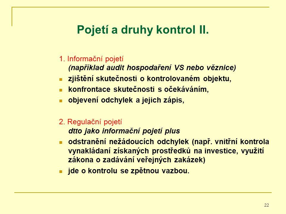 22 Pojetí a druhy kontrol II. 1. Informační pojetí (například audit hospodaření VS nebo věznice) zjištění skutečnosti o kontrolovaném objektu, konfron