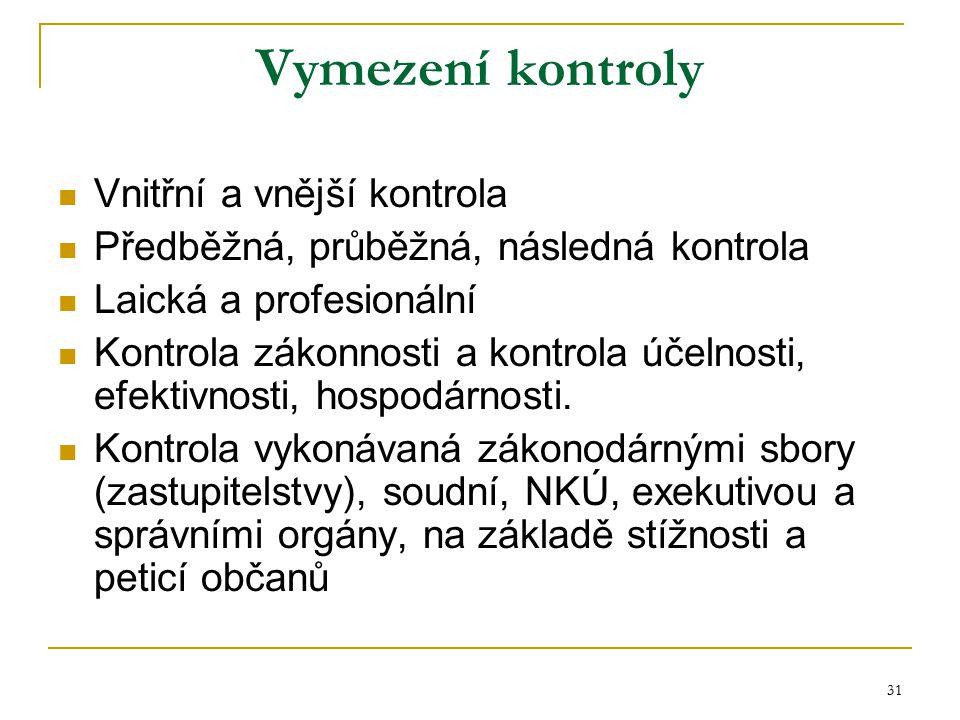 31 Vymezení kontroly Vnitřní a vnější kontrola Předběžná, průběžná, následná kontrola Laická a profesionální Kontrola zákonnosti a kontrola účelnosti,
