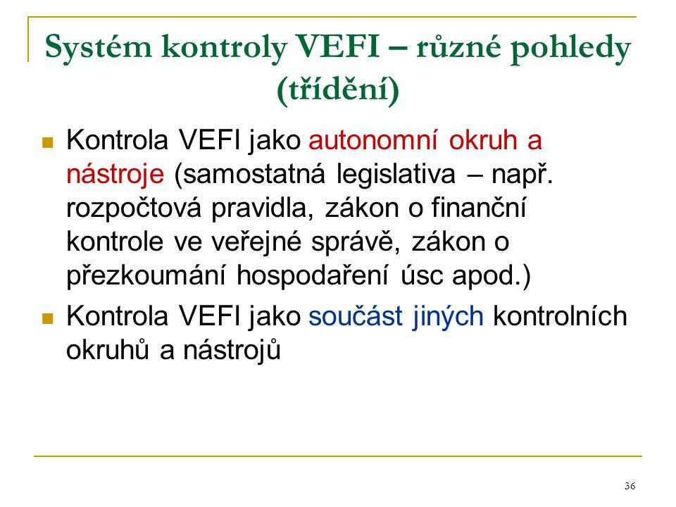 36 Systém kontroly VEFI – různé pohledy (třídění) Kontrola VEFI jako autonomní okruh a nástroje (samostatná legislativa – např. rozpočtová pravidla, z
