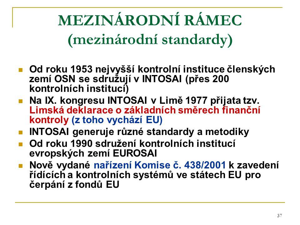 37 MEZINÁRODNÍ RÁMEC (mezinárodní standardy) Od roku 1953 nejvyšší kontrolní instituce členských zemí OSN se sdružují v INTOSAI (přes 200 kontrolních