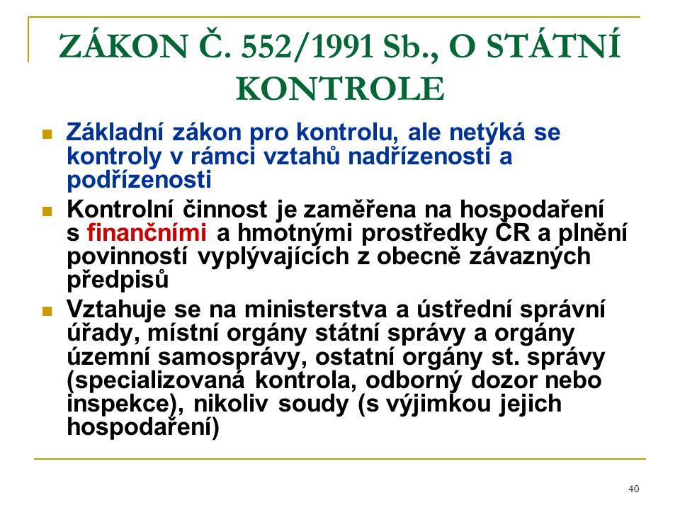 40 ZÁKON Č. 552/1991 Sb., O STÁTNÍ KONTROLE Základní zákon pro kontrolu, ale netýká se kontroly v rámci vztahů nadřízenosti a podřízenosti Kontrolní č