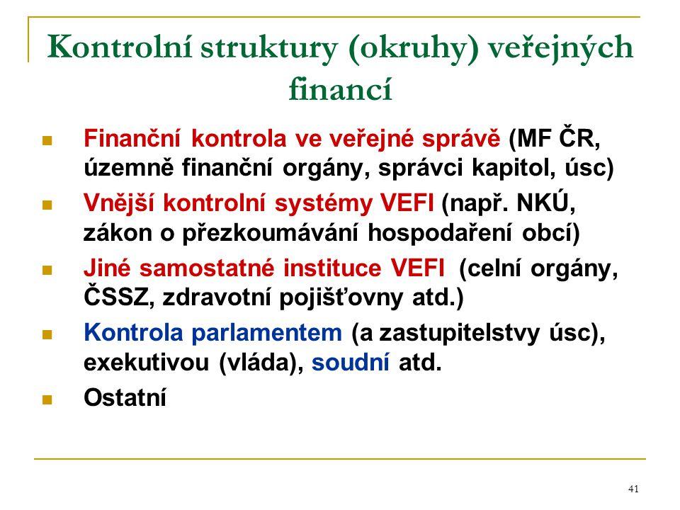 41 Kontrolní struktury (okruhy) veřejných financí Finanční kontrola ve veřejné správě (MF ČR, územně finanční orgány, správci kapitol, úsc) Vnější kon