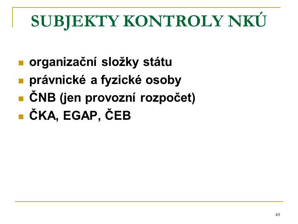 49 SUBJEKTY KONTROLY NKÚ organizační složky státu právnické a fyzické osoby ČNB (jen provozní rozpočet) ČKA, EGAP, ČEB