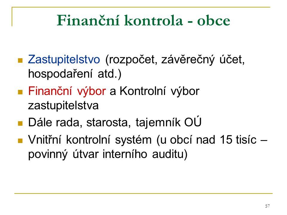 57 Finanční kontrola - obce Zastupitelstvo (rozpočet, závěrečný účet, hospodaření atd.) Finanční výbor a Kontrolní výbor zastupitelstva Dále rada, sta