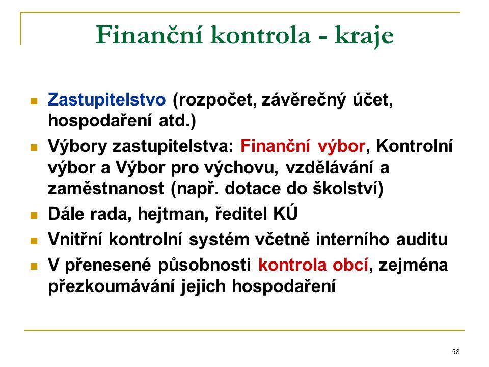 58 Finanční kontrola - kraje Zastupitelstvo (rozpočet, závěrečný účet, hospodaření atd.) Výbory zastupitelstva: Finanční výbor, Kontrolní výbor a Výbo