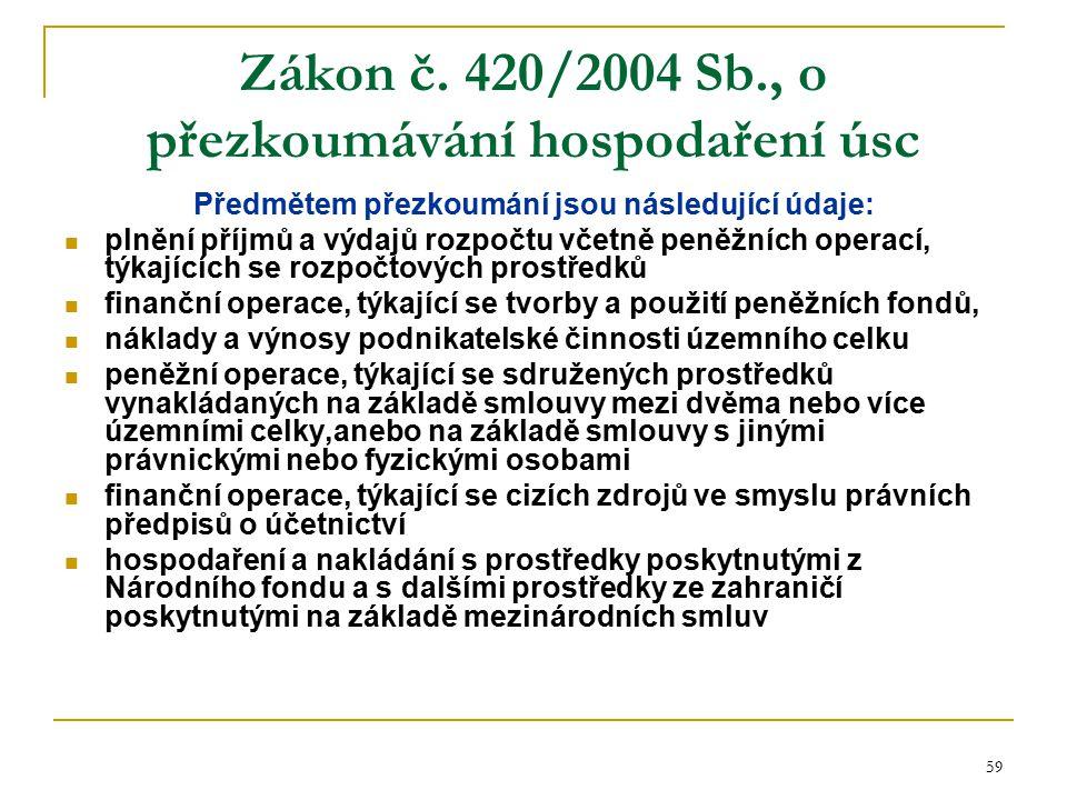 59 Zákon č. 420/2004 Sb., o přezkoumávání hospodaření úsc Předmětem přezkoumání jsou následující údaje: plnění příjmů a výdajů rozpočtu včetně peněžní