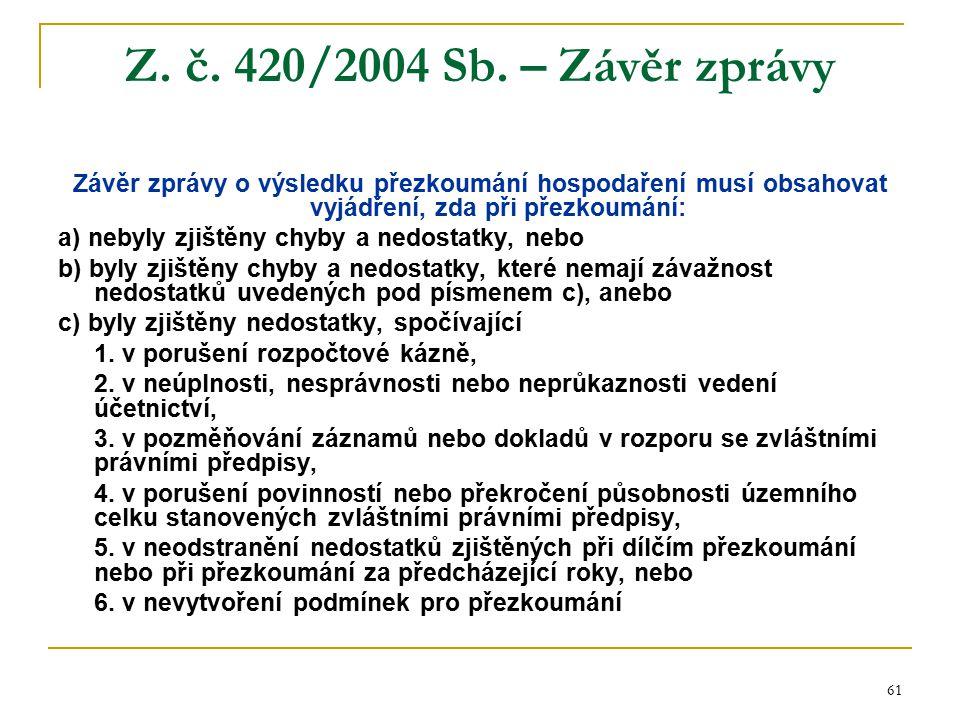61 Z. č. 420/2004 Sb. – Závěr zprávy Závěr zprávy o výsledku přezkoumání hospodaření musí obsahovat vyjádření, zda při přezkoumání: a) nebyly zjištěny