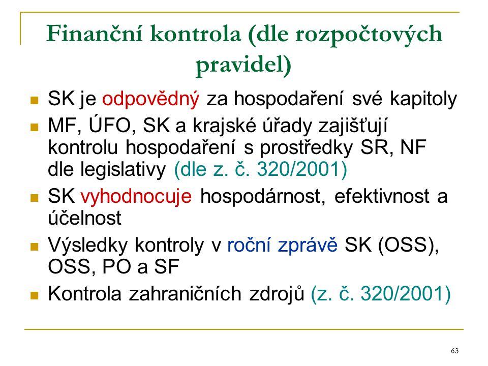 63 Finanční kontrola (dle rozpočtových pravidel) SK je odpovědný za hospodaření své kapitoly MF, ÚFO, SK a krajské úřady zajišťují kontrolu hospodařen