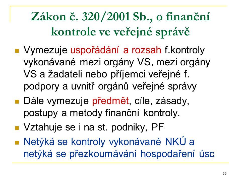 66 Zákon č. 320/2001 Sb., o finanční kontrole ve veřejné správě Vymezuje uspořádání a rozsah f.kontroly vykonávané mezi orgány VS, mezi orgány VS a ža