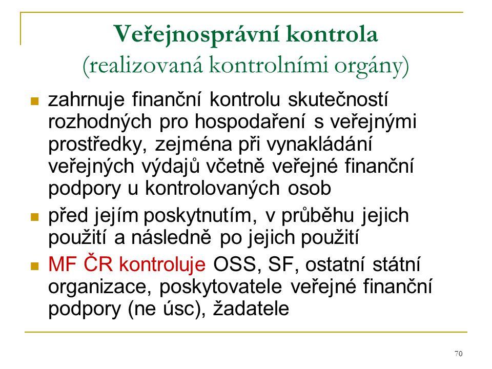 70 Veřejnosprávní kontrola (realizovaná kontrolními orgány) zahrnuje finanční kontrolu skutečností rozhodných pro hospodaření s veřejnými prostředky,