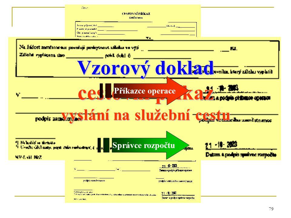 79 Vzorový doklad cestovní příkaz vyslání na služební cestu Příkazce operace Správce rozpočtu