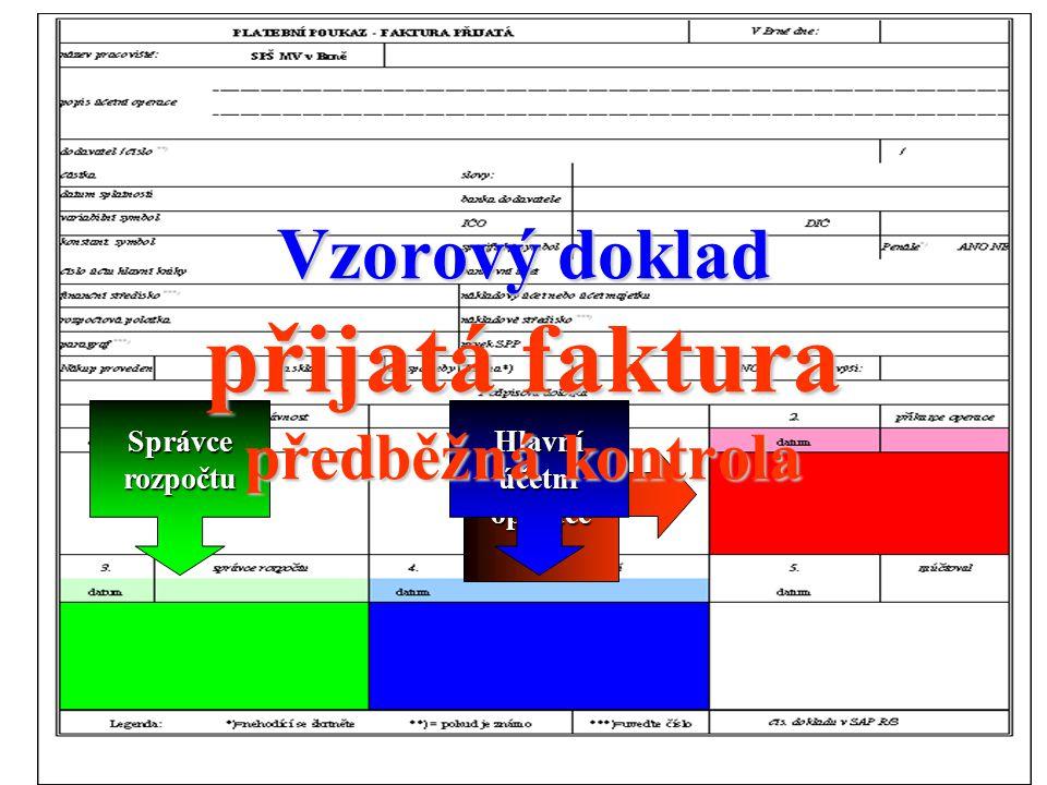 81 Příkazce operace Správce rozpočtu Hlavní účetní Vzorový doklad přijatá faktura předběžná kontrola