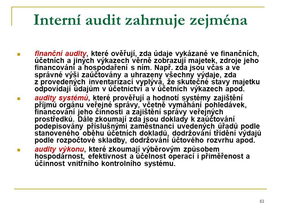 83 Interní audit zahrnuje zejména finanční audity, které ověřují, zda údaje vykázané ve finančních, účetních a jiných výkazech věrně zobrazují majetek