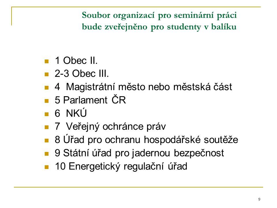 9 Soubor organizací pro seminární práci bude zveřejněno pro studenty v balíku 1 Obec II. 2-3 Obec III. 4 Magistrátní město nebo městská část 5 Parlame
