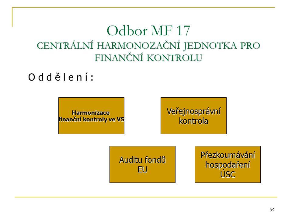 99 CENTRÁLNÍ HARMONOZAČNÍ JEDNOTKA PRO FINANČNÍ KONTROLU Odbor MF 17 CENTRÁLNÍ HARMONOZAČNÍ JEDNOTKA PRO FINANČNÍ KONTROLU Harmonizace finanční kontro