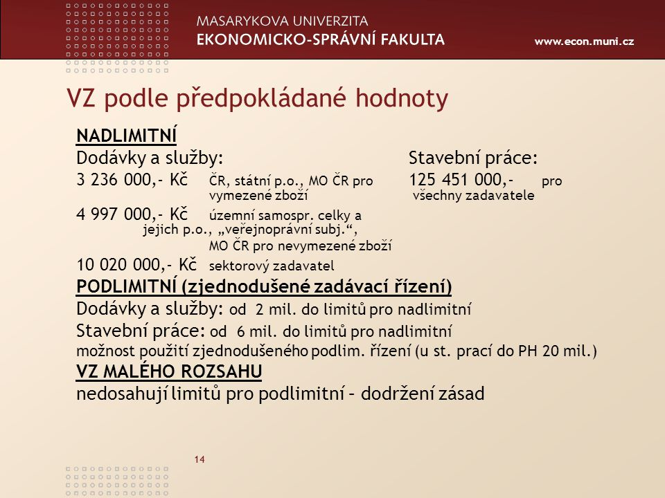 www.econ.muni.cz 14 VZ podle předpokládané hodnoty NADLIMITNÍ Dodávky a služby:Stavební práce: 3 236 000,- Kč ČR, státní p.o., MO ČR pro 125 451 000,- pro vymezené zboží všechny zadavatele 4 997 000,- Kč územní samospr.