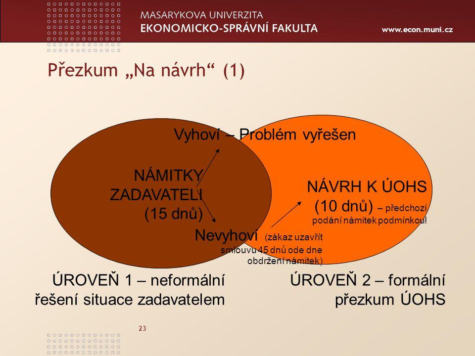 """www.econ.muni.cz 23 Přezkum """"Na návrh"""" (1) NÁMITKY ZADAVATELI (15 dnů) Vyhoví – Problém vyřešen Nevyhoví (zákaz uzavřít smlouvu 45 dnů ode dne obdržen"""