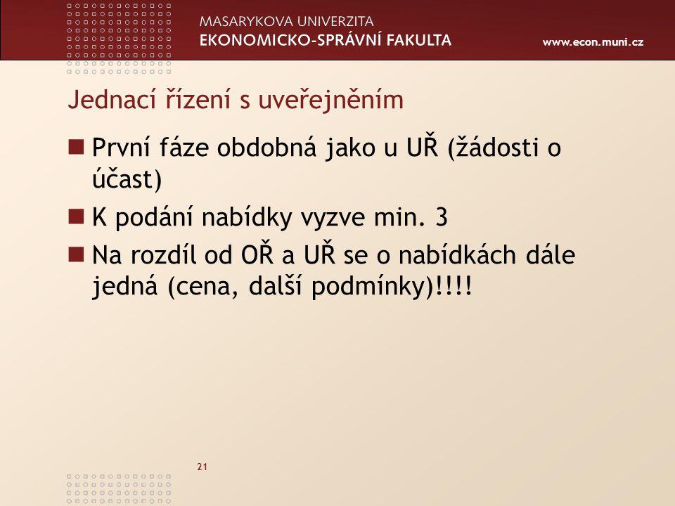 www.econ.muni.cz 21 Jednací řízení s uveřejněním První fáze obdobná jako u UŘ (žádosti o účast) K podání nabídky vyzve min.