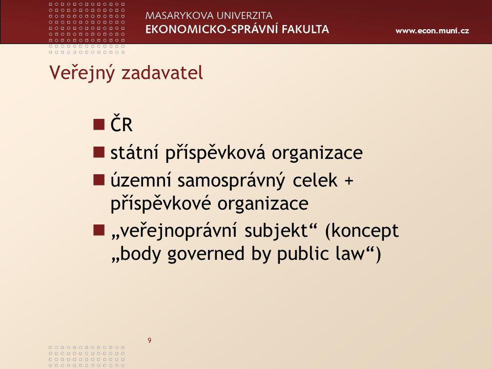 www.econ.muni.cz 10 Dotovaný zadavatel 1.VZ z více než 50 % financována z veřejných zdrojů nebo 2.VZ s financováním z veřejných zdrojů přesahujícím 200 mil.