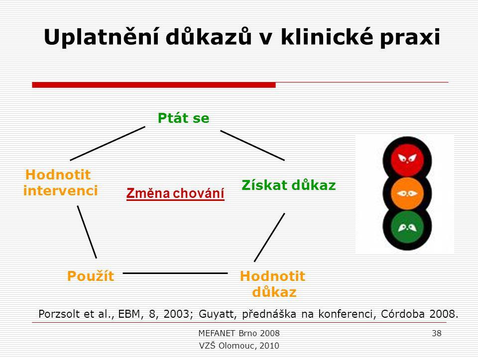MEFANET Brno 200838 Ptát se Získat důkaz Hodnotit důkaz Použít Hodnotit intervenci Uplatnění důkazů v klinické praxi Změna chování Porzsolt et al., EBM, 8, 2003; Guyatt, přednáška na konferenci, Córdoba 2008.