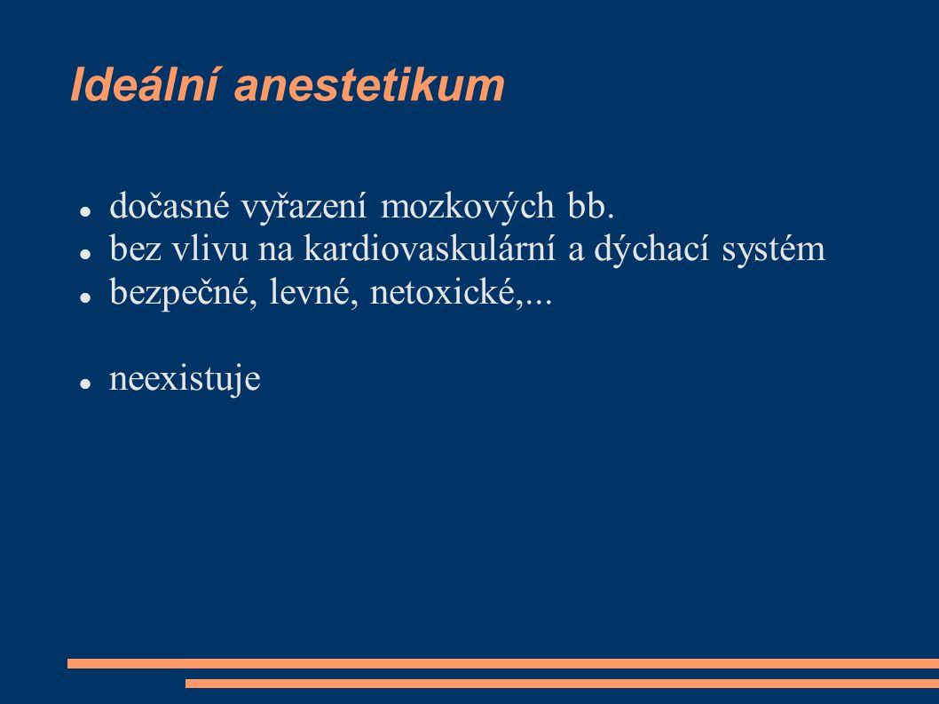 Ideální anestetikum dočasné vyřazení mozkových bb. bez vlivu na kardiovaskulární a dýchací systém bezpečné, levné, netoxické,... neexistuje