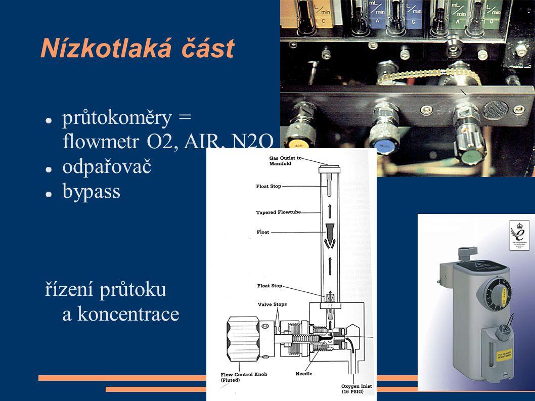 Nízkotlaká část průtokoměry = flowmetr O2, AIR, N2O odpařovač bypass řízení průtoku a koncentrace
