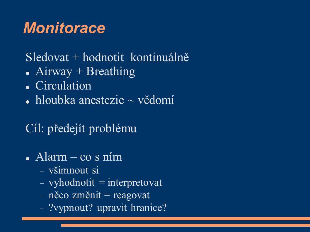 Monitorace Sledovat + hodnotit kontinuálně Airway + Breathing Circulation hloubka anestezie ~ vědomí Cíl: předejít problému Alarm – co s ním  všimnou