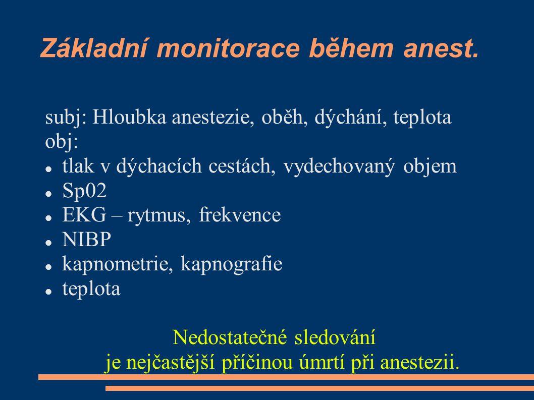 Základní monitorace během anest. subj: Hloubka anestezie, oběh, dýchání, teplota obj: tlak v dýchacích cestách, vydechovaný objem Sp02 EKG – rytmus, f