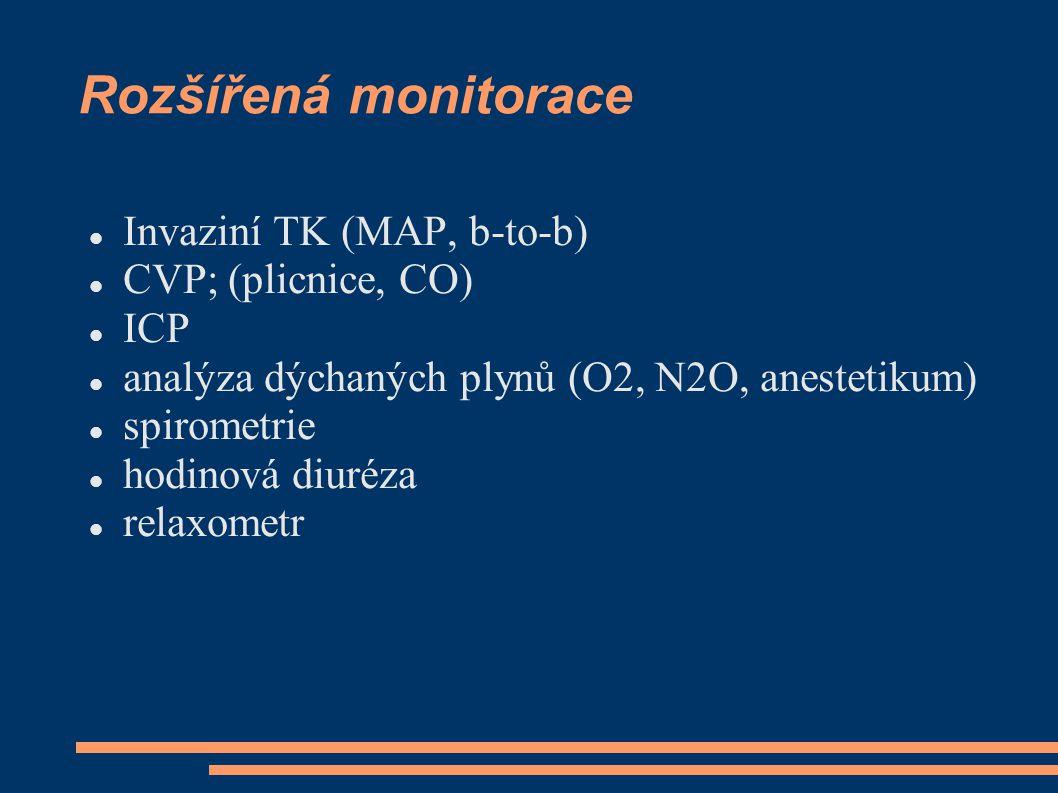 Rozšířená monitorace Invaziní TK (MAP, b-to-b) CVP; (plicnice, CO) ICP analýza dýchaných plynů (O2, N2O, anestetikum) spirometrie hodinová diuréza rel