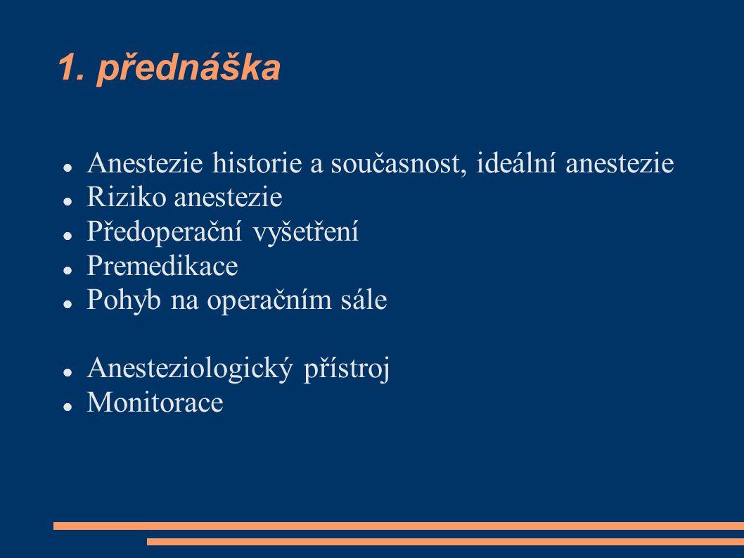 1. přednáška Anestezie historie a současnost, ideální anestezie Riziko anestezie Předoperační vyšetření Premedikace Pohyb na operačním sále Anesteziol