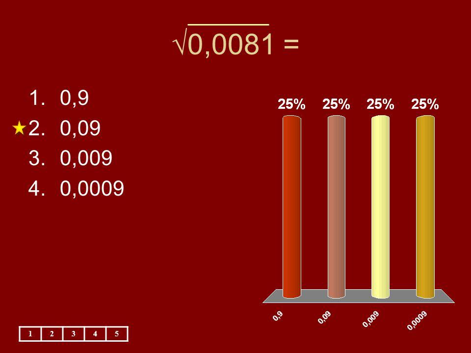 √0,0081 = 1.0,9 2.0,09 3.0,009 4.0,0009 12345