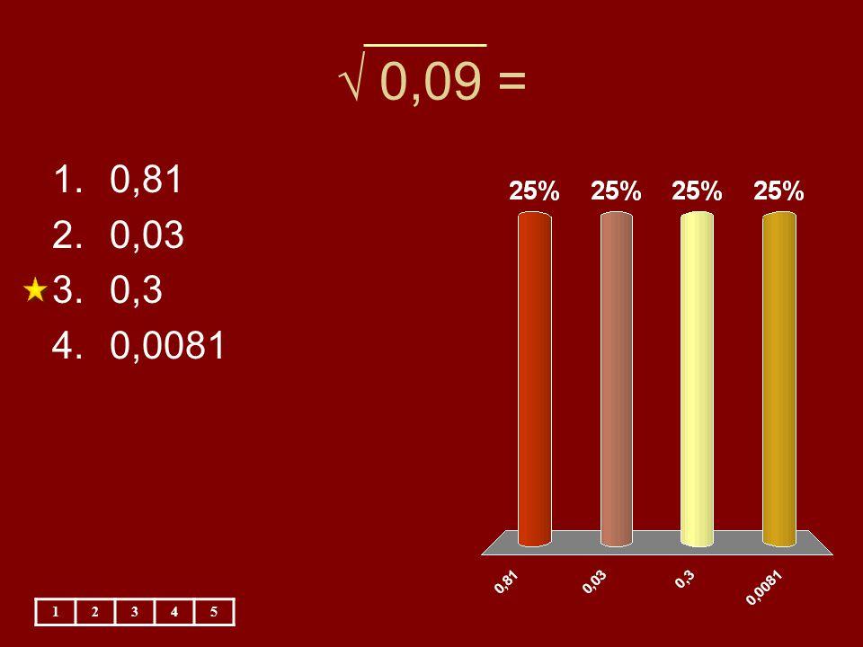 √ 0,09 = 12345 1.0,81 2.0,03 3.0,3 4.0,0081
