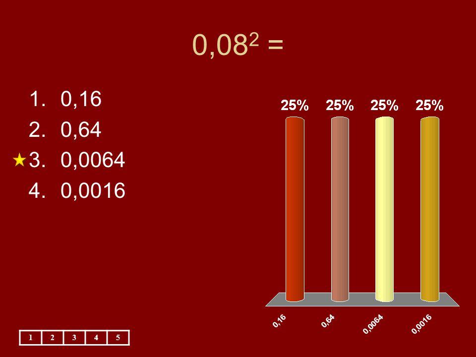 0,08 2 = 12345 1.0,16 2.0,64 3.0,0064 4.0,0016