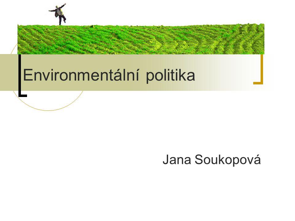 Environmentální politika role státu (veřejné moci) nenáhodné řešení problému koncepce:  popis a hodnocení stavu  analýza problémů a rizik  definice cílů  návrh opatření a nástrojů