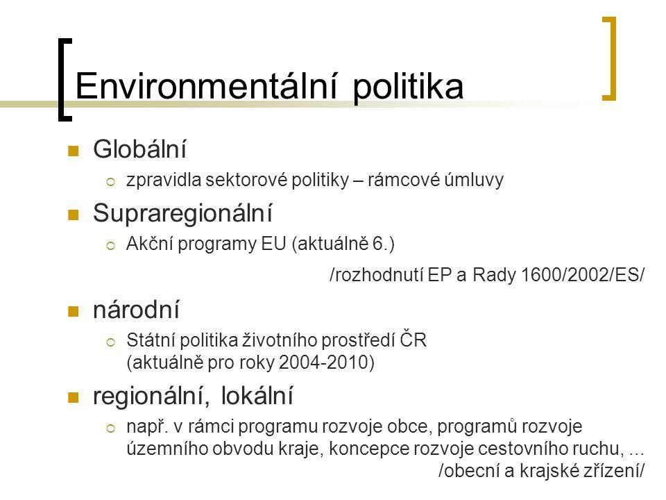 Ekologická politika státu Zřízení potřebných orgánů a institucí Přijetí určitých principů  Státní politika životního prostředí Formulace základních cílů Volba vhodných nástrojů Zakotvení institucionální struktury i nástrojů do platných právních norem Kontrola fungování ekologické politiky