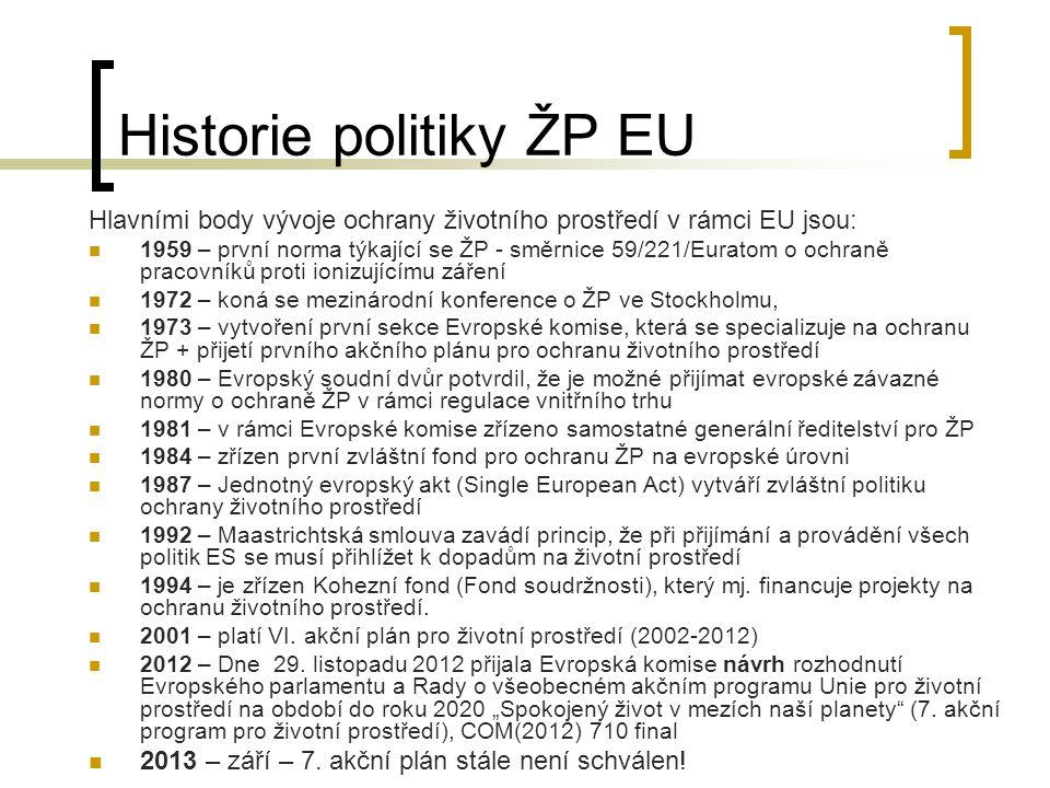 """Zásady politiky ŽP EU Zásada prevence (""""je lepší než léčení ) Odstraňovat příčiny škod na místě vzniku Zásada """"znečišťovatel platí Princip integrace – zásady ochrany ŽP se musí promítat do definic a realizace všech politik EU a členských států Zásada předběžné opatrnosti Zásada vysoké úrovně ochrany, která se má promítat do všech legislativních a normativních kroků Komise"""