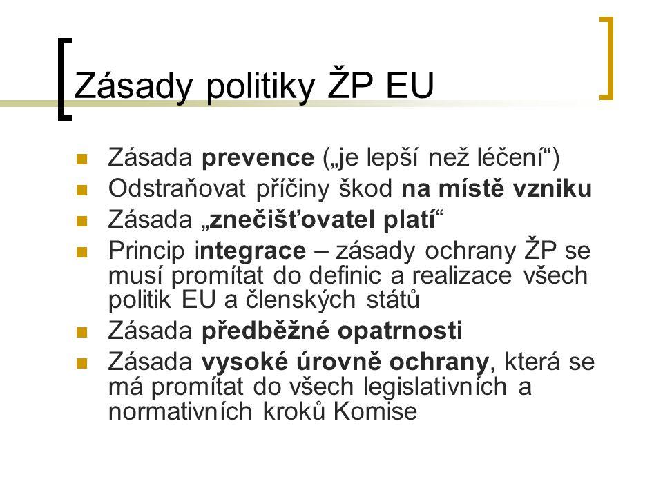 """Nástroje politiky ŽP EU Legislativa Tržní nástroje Horizontální nástroje Finanční nástroje Volný přístup k informacím o znečištění ŽP """"Eco-label – označení výrobků vyhovujících stanoveným normám """"Eco-audit – dobrovolný audit technologických procesů z hlediska požadavků ochrany ŽP"""