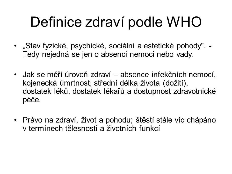 """Definice zdraví podle WHO """"Stav fyzické, psychické, sociální a estetické pohody ."""