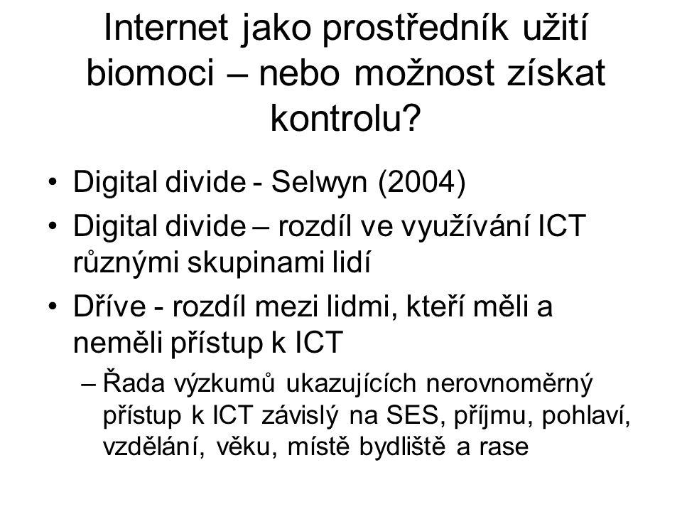 Internet jako prostředník užití biomoci – nebo možnost získat kontrolu? Digital divide - Selwyn (2004) Digital divide – rozdíl ve využívání ICT různým