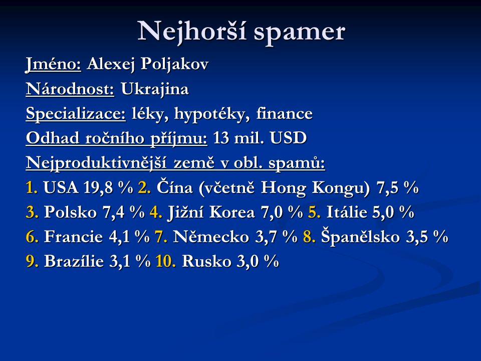 Nejhorší spamer Jméno: Alexej Poljakov Národnost: Ukrajina Specializace: léky, hypotéky, finance Odhad ročního příjmu: 13 mil.