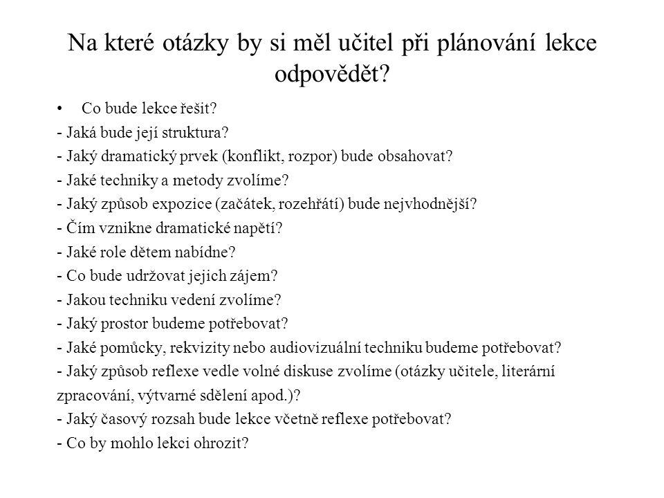 Na které otázky by si měl učitel při plánování lekce odpovědět.