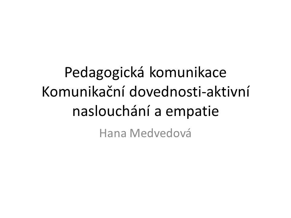 Pedagogická komunikace Komunikační dovednosti-aktivní naslouchání a empatie Hana Medvedová