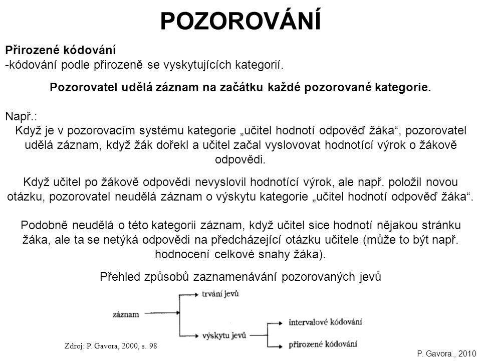 101 POZOROVÁNÍ Přirozené kódování -kódování podle přirozeně se vyskytujících kategorií.